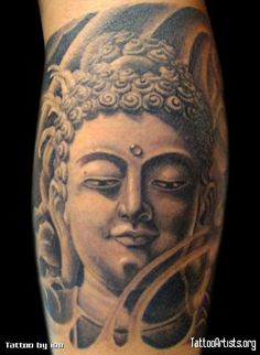 Although there are various other Buddha tattoos that can be used for the design, still the Buddha image remains as the first choice. No matter how Buddha is represented in a tattoo design including his mood Buddha Tattoos, Buddha Tattoo Meaning, Buddha Tattoo Design, Head Tattoos, Girl Tattoos, Tattoos For Guys, Sleeve Tattoos, Buddha Face, Buddha Head