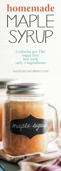 (How to Make Maple Syrup) This Healthy Homemade Sugar Free Maple Syrup tastes just like pure maple syrup, except it's sugar free, low carb. Homemade Maple Syrup, Maple Syrup Recipes, Sugar Free Maple Syrup, Maple Sugar, Low Sugar, Healthy Dessert Recipes, Low Carb Recipes, Vegan Recipes, Snacks