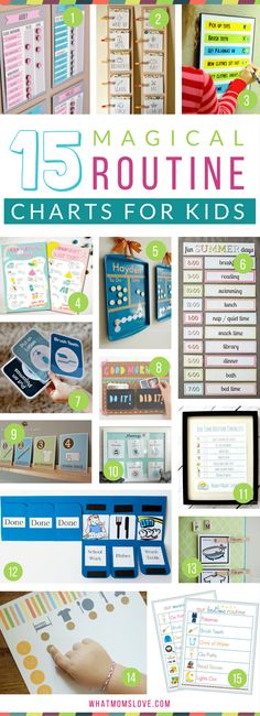 Morning and Bedtime Daily Routine Charts for Kids - perfect for keeping them on a schedule over the summer or for back to school. DIY and printable routine charts to help teach kids independence!
