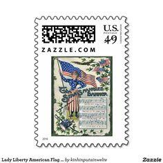 Lady Liberty American Flag Star-Spangled Banner Postage
