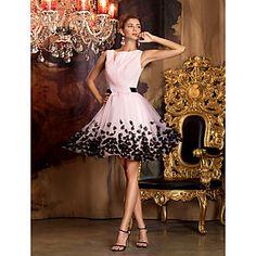 Sheath/Column Jewel Short/Mini Chiffon|Tulle Cocktail Dress (1049245) – EUR € 79.99