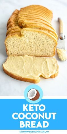 Keto coconut bread is a fantastic substitute to my regular keto bread that is nut-free, gluten-free and slightly lower in calories. The bread is fluffy, sliceable and totally delicious. Healthy Diet Recipes, Ketogenic Recipes, Low Carb Recipes, Snack Recipes, Sans Gluten, Gluten Free, Low Calorie Bread, Pain Keto, New Recipes For Dinner