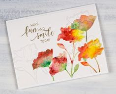 This week I have a couple of painted die cut cards to share. To create this one I first sprinkledleaf green, sunburst yellow and rose red brusho over a piece of hot pressed watercolour pape…
