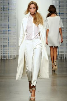 White Coated Denim Trench Coat, White Perforated Sleeveless Shirt, and White Cropped Cotton Stretch Trouser