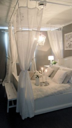 DIY canopy bed, I love how you can have a canopy bed while choosing what your head board and all that get to look like because they aren't connected to each other.