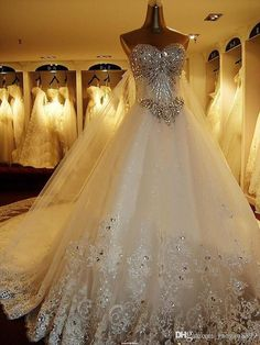 2016 Amelia Sposa Sparkly Crystal Lace Wedding Dresses Luxury Cathedral Train Bridal Gowns Real Image Plus Size Wedding Gown Pnina Tornai Wedding Gown Lace A Line Wedding Dresses Uk From Gaogao8899, $212.57  Dhgate.Com