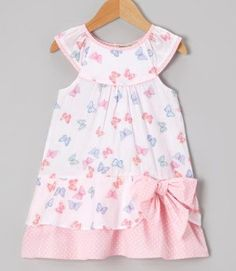 Take a look at this Pink & Blue Butterfly Yoke Dress - Infant & Toddler by P'tite Môm on today! Little Dresses, Little Girl Dresses, Cute Dresses, Girls Dresses, Toddler Dress, Toddler Outfits, Girl Outfits, Infant Toddler, Baby Dress Design