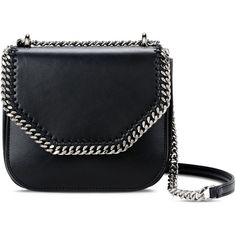 Stella Mccartney Black Falabella Box Mini Shoulder Bag ($750) ❤ liked on Polyvore featuring bags, handbags, shoulder bags, black, animal purse, mini leather handbags, leather shoulder handbags, shoulder handbags and stella mccartney shoulder bag