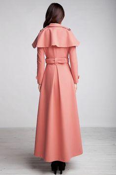 Grey wool coat, long trench coat, button coat with ruffle details ...