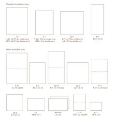 Invitation sizes. Also on this page: envelope styles/sizes.