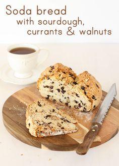 soda bread with sourdough, currants & walnuts
