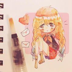 Beautiful Drawings, Cute Drawings, Anime Chibi, Anime Art, Chibi Girl Drawings, Art Styles, Manga Drawing, Fan Girl, Drawing Ideas