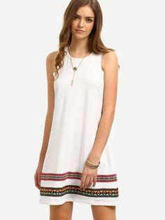 Vestido vintage sin manga holgado -blanco
