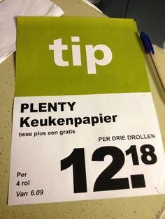 #WinkelHumor Als het #grote zijn, is #keukenpapier inderdaad handiger ...Beetje #drollig natuurlijk...