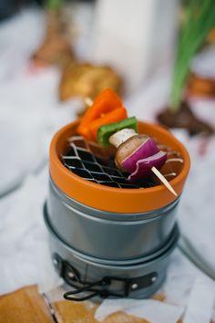 DIY mini grills, terracotta pot, mesh, two mini pans, 15 min. I see marshmallows in our future!!