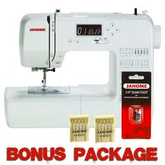 http://lenabuy.com/janome-dc1050-computerized-sewing-machine-wfree-bonus-package/  Janome DC1050 Computerized Sewing Machine w/FREE BONUS PACKAGE Janome DC1050 Computerized Sewing Machine w/ FREE Value PackageValue priced Janome DC1050 has 50 stitches and 3 one-step buttonholes, a one-hand needle threader and slide-on presser feet. It has a free arm and of… -  My website : http://lenabuy.com/category/sewing-machine - Fanspage: http://www.facebook.com/sewingmachine123