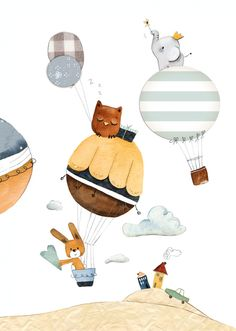 Illustration Enfant Pictures – Portrait of a Child 'Hot Air Balloon Owl, Rabbit . Nursery Art, Nursery Decor, Air Balloon, Balloons, Illustration Inspiration, Clipart Baby, Nursery Pictures, Baby Clip Art, Little Elephant