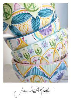 Bowls pintados Pottery Painting, Ceramic Painting, Ceramic Clay, Ceramic Plates, Pottery Bowls, Ceramic Pottery, Paint Your Own Pottery, Bowl Designs, Pottery Designs