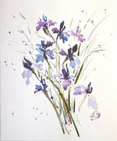 Watercolour paintings – Water Irises ORIGINAL watercolor painting – a unique product by Radikacolours on DaWanda