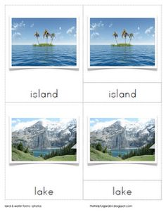 Land and Water Forms-- free downloadable nomenclature cards (She has a TON of free Montessori stuff... bless her heart!)