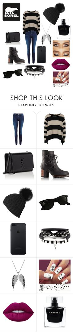 """""""Kick Up the Leaves (Stylishly) With SOREL: CONTEST ENTRY"""" by destinyevans12 ❤ liked on Polyvore featuring SOREL, Lee, STELLA McCARTNEY, Yves Saint Laurent, Black, Ray-Ban, Lime Crime, Narciso Rodriguez and sorelstyle"""
