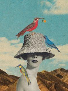 Birdland by Sammy Slabbinck ( Collage - Art - Cut & Paste - Mixed Media - Design )...adorei esta ARTE...amei o chapéu ...tudo....ADMIRADORA DA BRIDGET JONES..BRASILABAIXO A CORRUPÇÃO!!!!!..13 MARÇO 2016.