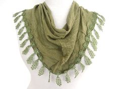 Olive Green Fringed Cotton Scarf Mothers by mediterraneanlights, $16.90
