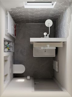 In recent years not only the style but only the finished, Small Bathroom Plans, Small Bathroom Interior, Small Bathroom Layout, Tiny Bathrooms, Tiny House Bathroom, Laundry In Bathroom, Bad Inspiration, Bathroom Inspiration, Toilet Design