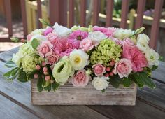 Blooming garden in a box handcrated by Fleurelity. Flower arrangement in a box with whites, greens and pinks. Tropical Flower Arrangements, Tropical Flowers, Spring Flowers, Deco Floral, Floral Design, Flower Boxes, Flowers In A Box, Flowers Garden, Small Flowers