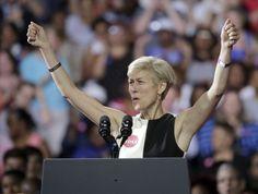 North Carolina Democratic Senate candidate Deborah Ross reacts to the crowd…