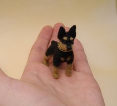OOAK Needle Felted Miniature Pinscher by KaysK9s on Etsy