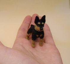 OOAK Needle Felted Miniature Pinscher by KaysK9s on Etsy
