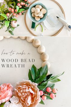 How to easily make a wood bead wreath! SO CUTE! Love this trendy wood bead floral wreath, follow this tutorial to make your own! #woodenbeadwreath #woodbeadwreath #woodbeadfloralwreath #diy #howto #frontdoorwreath