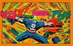 Three Marvel black light posters, published by Third Eye, Comic Book Artists, Comic Artist, Comic Books Art, Sci Fi Kunst, 70s Sci Fi Art, Captain American, Black Light Posters, Bristol Board, Magic Eyes