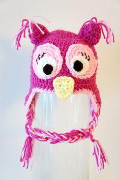 Girly Owl Hat Crochet Baby Hat Owl Hat Baby Hat by stylishbabyhats