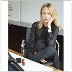 At the OFFICE by Elin Kling wearing Michael Kors blouse