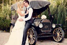 great old car. chic pink Rancho Las Lomas San Diego wedding
