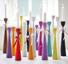 FREEMOVER.se Rolf™ Candlestick in three sizes,37 colors, in beech wood. Design: Maria Lovisa Dahlberg. Rolf™ Celebrating 10 years. Scandinavian Mid-Century Modern