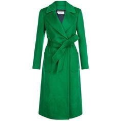 Hobbs Kali Coat ($455) ❤ liked on Polyvore featuring outerwear, coats, long green coat, tie belt, long sleeve coat, single-breasted trench coats and hobbs coats