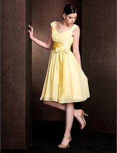 A-line V-neck Knee-length Chiffon And Stretch Satin Bridesmaid Dress - USD $ 89.99
