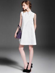 Sleeveless Mandarin Neck Qipao / Cheongsam Dress with Pocket