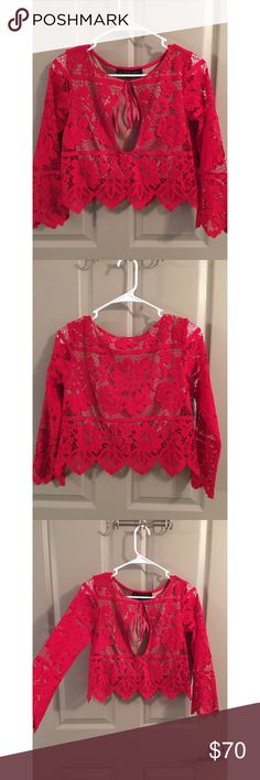 For Love and Lemons Gianna Top Beautiful hot red lace top!! ❤️🔥  Front keyhole detail, with tie closure. Scalloped trim. Style up or down. Perfect for date night! Worn once. For Love and Lemons Tops