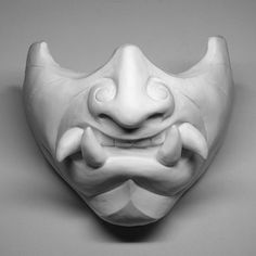 White Oni Mask Blank DIY Cast Urethan Plastic Original by Wiremonk