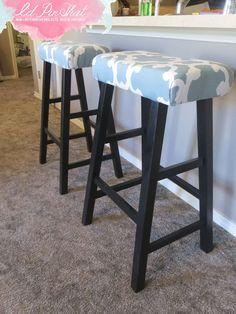 DIY bar stool makeover using a Target curtain! DIY bar stool makeover using a Target curtain! Bar Stool Makeover, Furniture Makeover, Diy Furniture, Furniture Upholstery, Plywood Furniture, Repurposed Furniture, Kitchen Furniture, Modern Furniture, Furniture Design