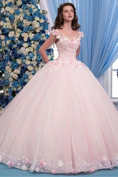 Exquisite Tulle Sheer Jewel Neckline Ball Gown Wedding Dress With Lace Appliques & 3D Flowers & Beadings