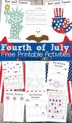 Fourth of july free printable activity pack for kids. Summer Activities, Toddler Activities, Preschool Activities, Preschool Kindergarten, Preschool Centers, Preschool Printables, Holiday Activities, Holiday Crafts, Fourth Of July Crafts For Kids