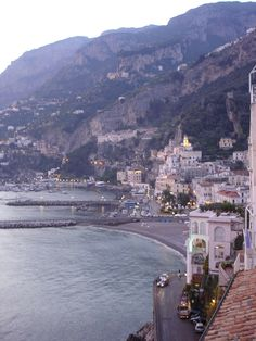 View out of our hotel bedroom Terrace looking out over Amalfi - Oct 07