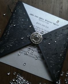 Black pearl & Ivory wedding invitation by craftydesigner