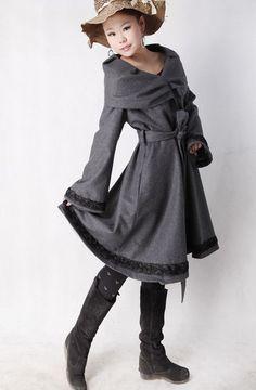 Lover  Dark gery woolen coat by xiaolizi on Etsy, $98.00