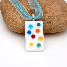 Fused Glass Bubble Polka Dot Pendant by buffaloartglass on Etsy
